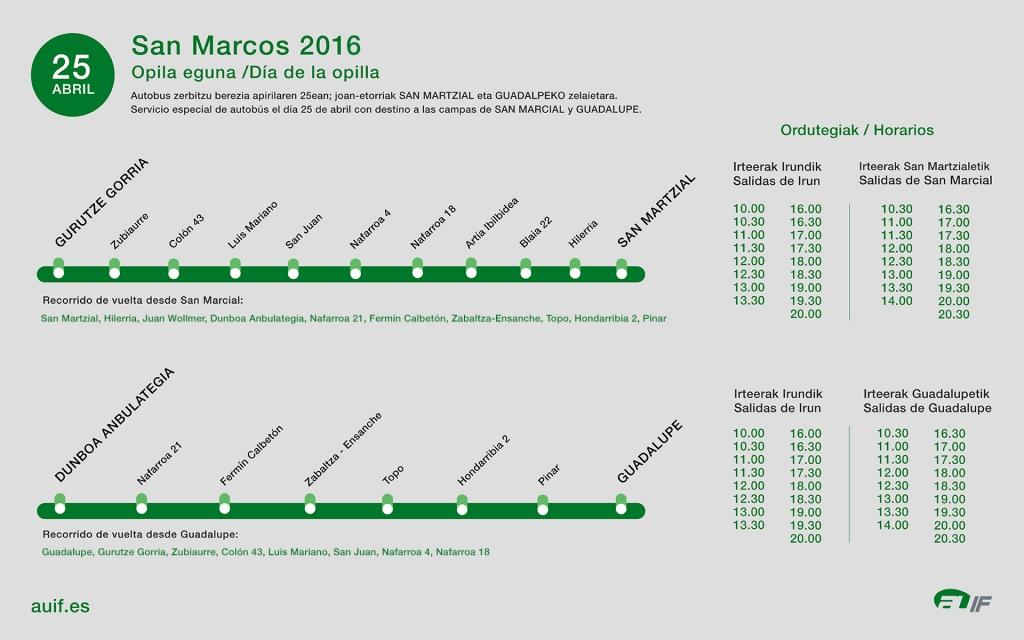 Líneas y horarios Opilla 2016