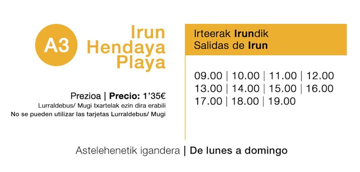 A3-Horarios-Irun-Hendaya playa