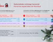 Horarios Irunbus Navidad 2019
