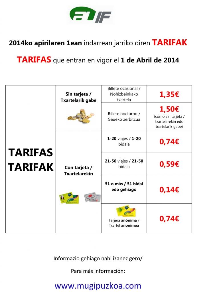 tarifas abril 2014