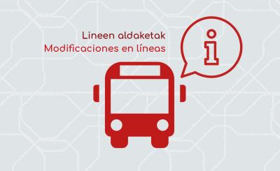 Aviso de modificaciones en líneas de Irunbus