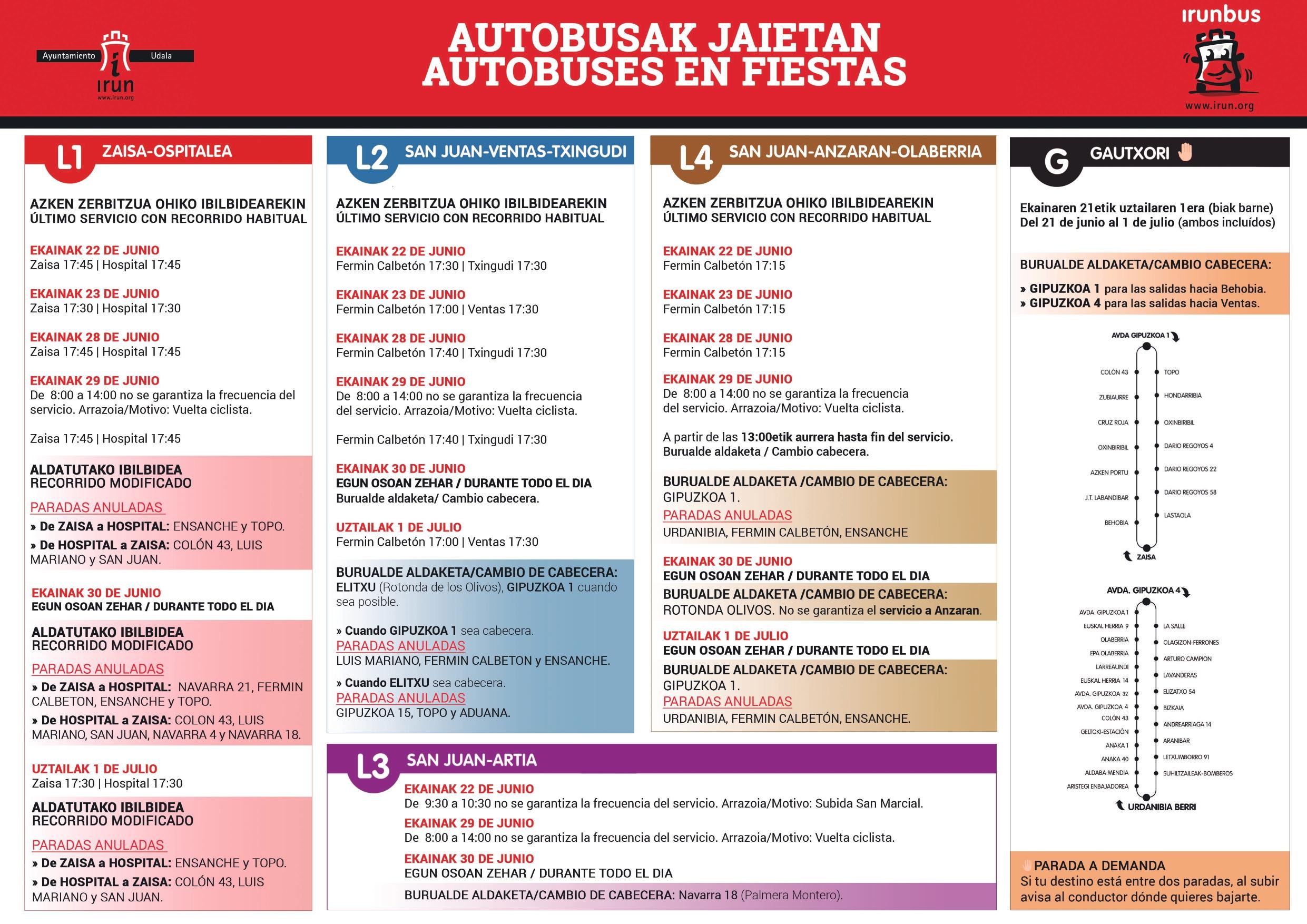 Horarios y paradas de las líneas Irunbus durante las fiestas de San Marcial 2019