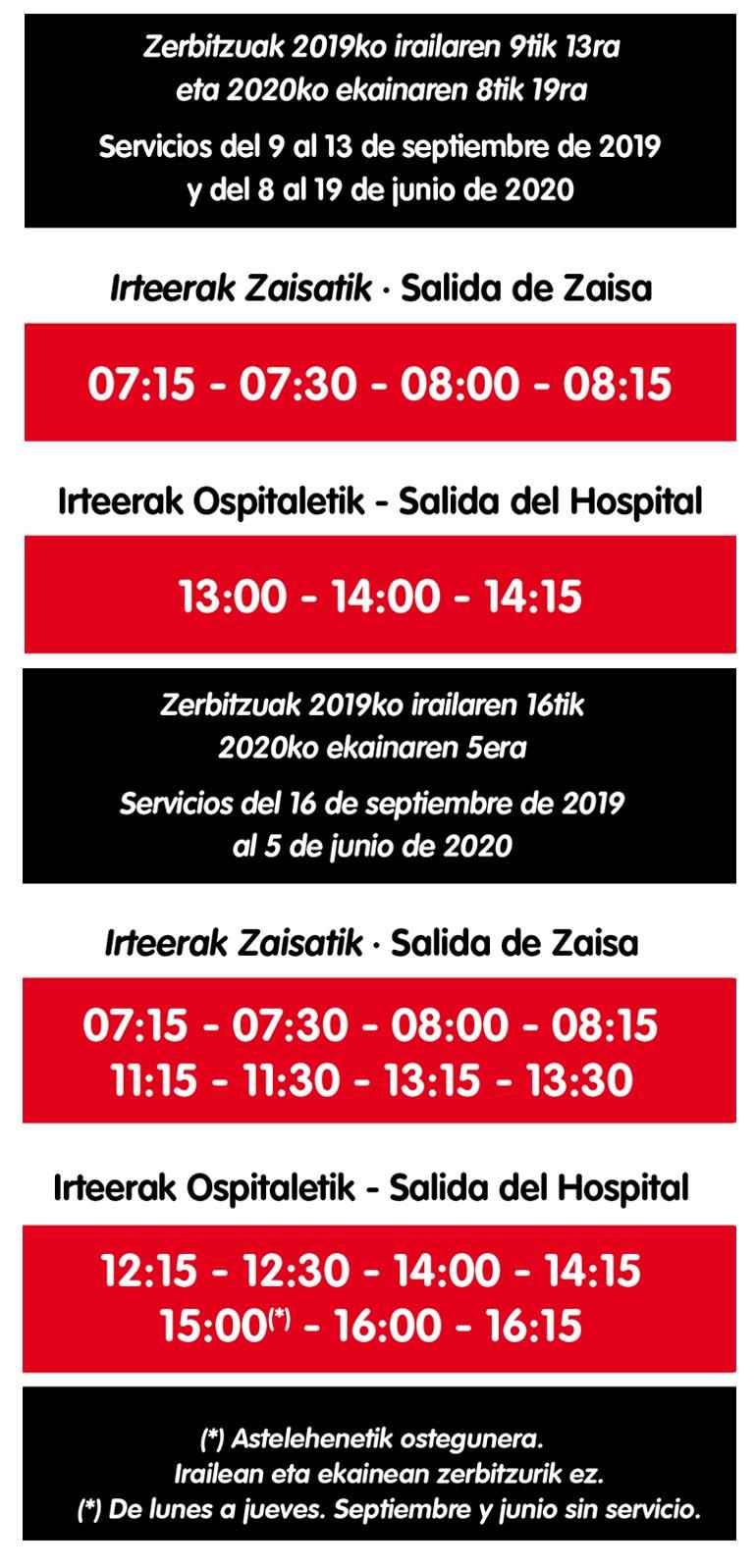 L1 Horarios Zaisa Ospitalea Txingudi Ikastola 2019-2020