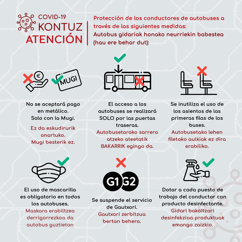 Medidas de seguridad en los autobuses de Irunbus por el estado de alarma por el coronavirus